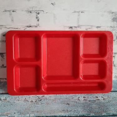 Vintage Cambro Bright Red Tray, 6 Compartments, School Tray, Beat Organizer, Snack Organization, Plates For Toddlers, Camping Trays by BellsAndWhistlesEtc