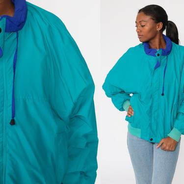 Turquoise Windbreaker 80s Fleece Lined Jacket Blue Zip Up Retro Windbreaker Vintage 90s Plain Basic Large by ShopExile