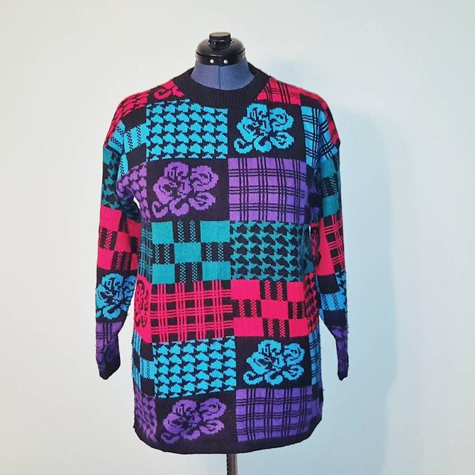 90s Christmas Sweaters.Traffic Jam Vintage Color Block Floral Plaid Sweater 90s 80s Funky Sweater Slouchy Ugly Christmas Sweater For Women Size Large By