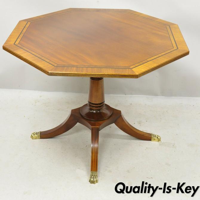 Baker English Regency Mahogany Pedestal Base Banded Inlay Octagonal Center Table