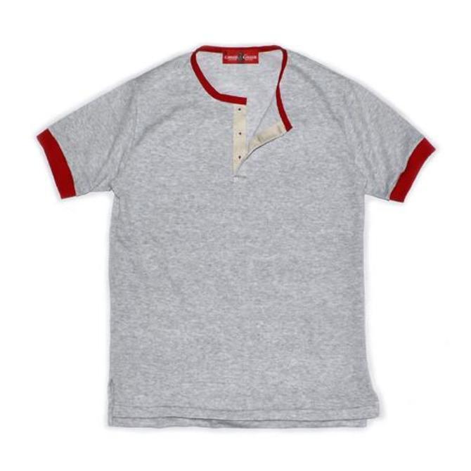Wrigley Short Sleeve Henley (Grey/Red)