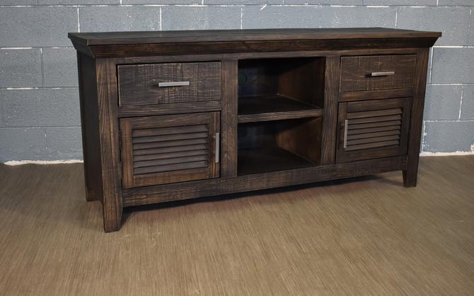 Rustic Black Solid wood 60 inch TV stand Media Console, Entertainment console with Shuttered Doors by RusticShop1