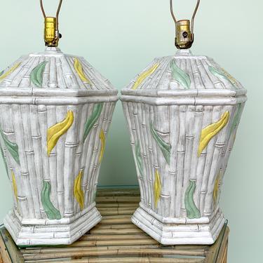 Pair of Ceramic Faux Bamboo Leaf Lamps
