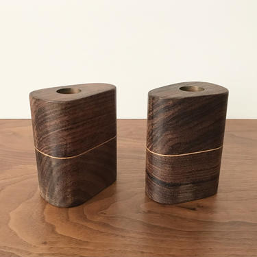 Pair of Modernist Handcrafted Rosewood Candlesticks by TheThriftyScout
