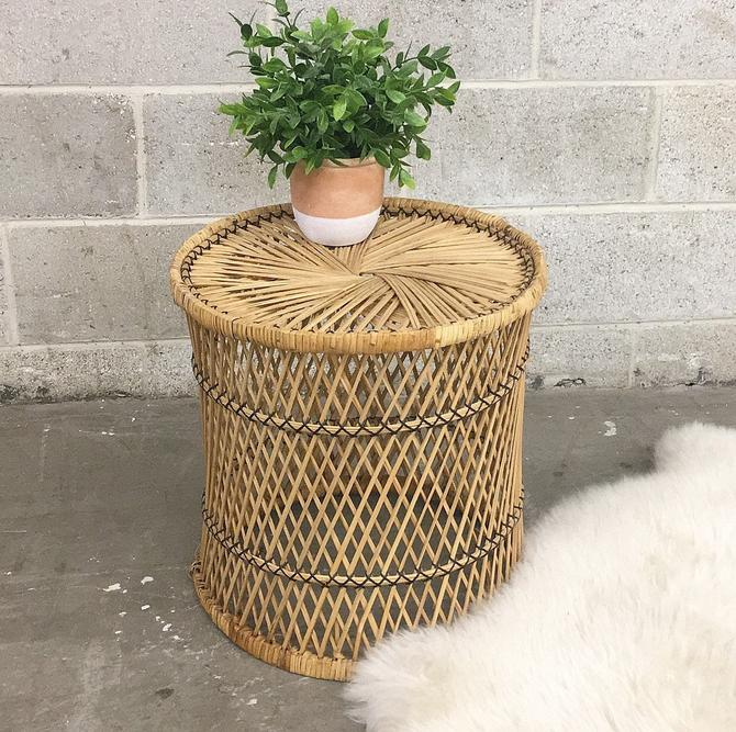 Vintage Wicker Table Retro 1980s Bohemian + Woven Straw Plant Stand + End or Side Table + See Through + Indoor + Boho + Home Decor by RetrospectVintage215