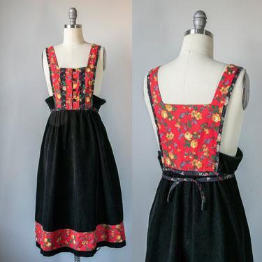 1970s Jumper Dress Corduroy Patchwork S by dejavintageboutique