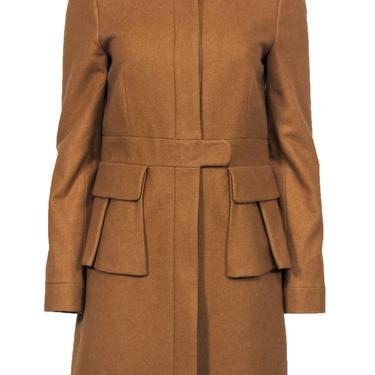 J.Crew - Light Brown Wool Blend Overcoat w/ Peplum Sz 6