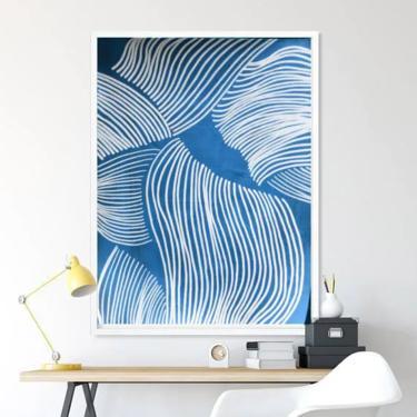Print-Seen On TV-My Blue Ocean Bottom Art Print -- Abstract Minimalist Modern Art Contemporary ArtbyDinaD by ArtbyDinaD