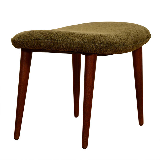 Danish Modern Teak Splayed Leg Olive Upholstered Ottoman