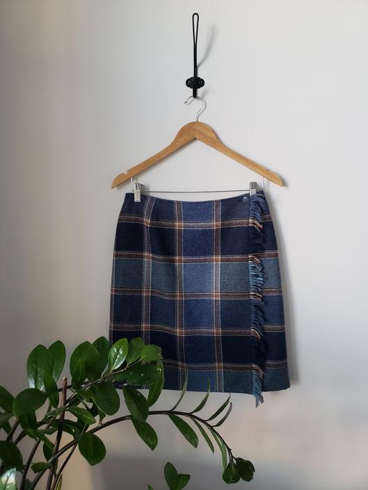 Vintage Large Plaid Wrap Fringe Skirt|  Liz Claiborne Wool Wrap Skirt by LoveOnceAgain