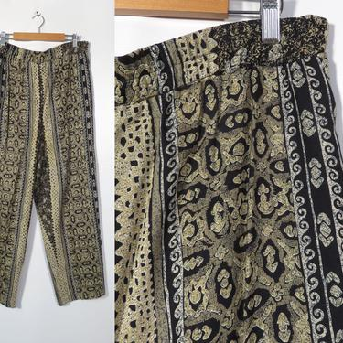 Vintage 90s Abstract Print High Waist Elastic Waist Straight Leg Rayon Summer Weight Comfy Loungewear Pants Made In USA Size 14 L/XL by VelvetCastleVintage