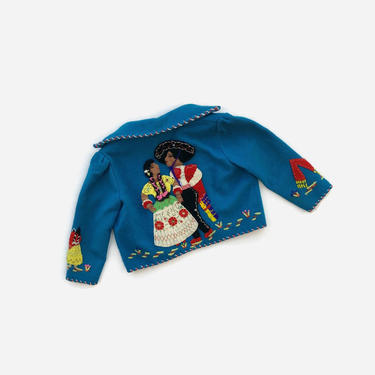 Vintage 40s Girl's MEXICAN Jacket / 1940s Little Girls Embroidered Wool Souvenir Tourist Jacket by LuckyDryGoods