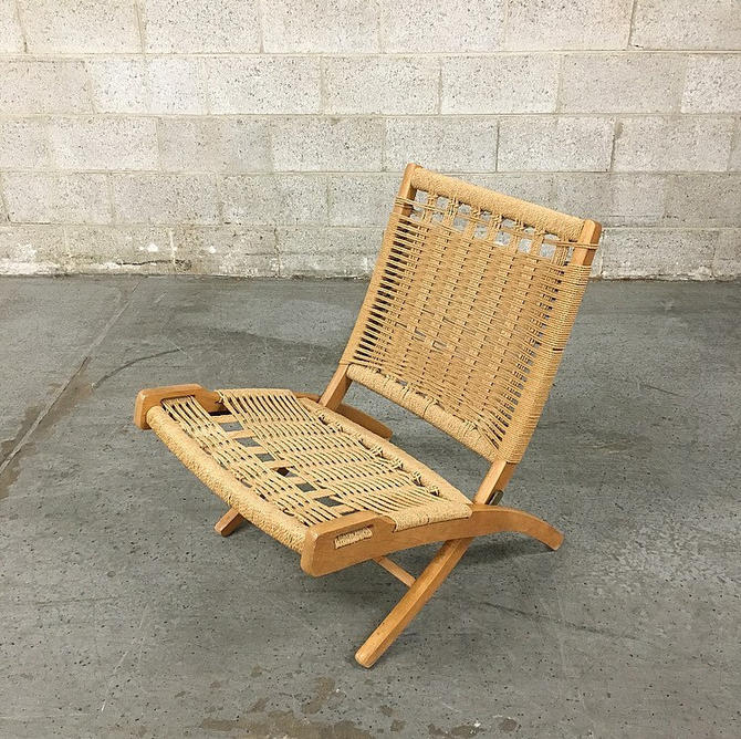 LOCAL PICKUP ONLY Vintage Wood Frame Lounge Chair Retro 1970's Bohemian Tan Woven Rope Fold Up Chair for Living Room by RetrospectVintage215