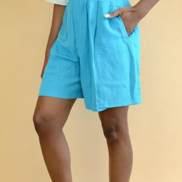 Vintage Linen Pastel Blue High Rise Shorts by MAWSUPPLY