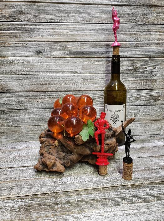 Vintage Trophy Wine Bottle Stopper, Red, Pink or Black Majorette Cork Bottle Stopper, Bottle Top, Upcycled 1970's Trophy, Vintage Barware by AGoGoVintage