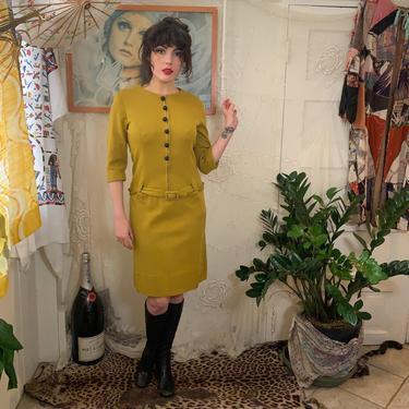 1960's CHARTREUSE DRESS - Vogue Original - Lanvin - drop waist - medium/large by GlamItToHell