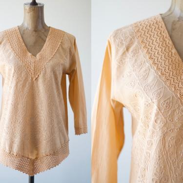 70s Vintage PEACH CROCHET CREWEL Embroidered India Tunic, V-neck Shirt Bandana Hem Blouse Cotton Top Long Sleeves Light Orange Floral Lace by MOBIUSMOD