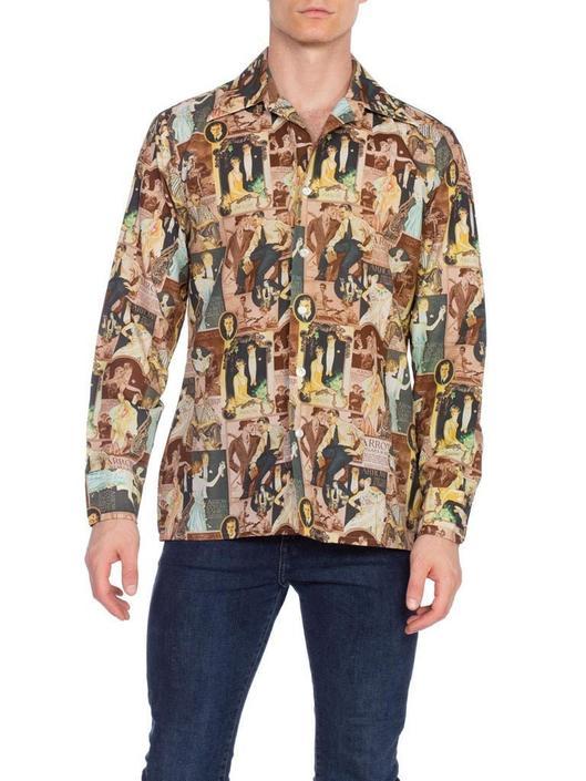 1970S Men's JC Leyendecker 1920'S Art Deco Print Disco Shirt by SHOPMORPHEW