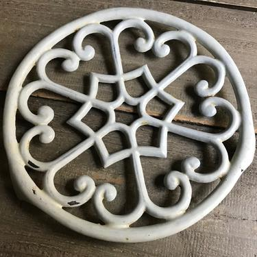 French White Enamel Trivet, Cast Iron, French Farmhouse Kitchen Cuisine, Hot Plate by JansVintageStuff