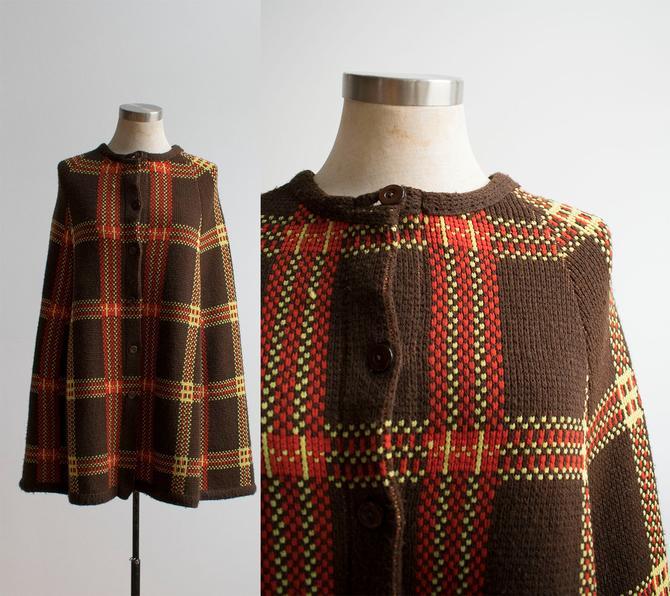 Vintage 1970s Knit Cape / 1970s Knit Poncho / Vintage Plaid Woven Cape / Vintage 1970s Poncho by milkandice