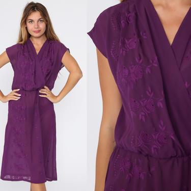 70s Wrap Dress Sheer Purple FLORAL EMBROIDERED Dress Boho Midi Deep V Neck High Waist Vintage Cap Sleeve Bohemian Party Grecian Medium by ShopExile