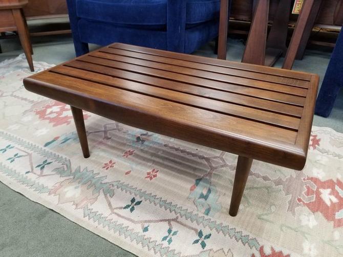 Mid-Century Modern walnut small slat bench / table