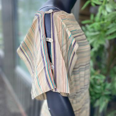 JOAN LESLIE by KASPER Vintage 1980s 100% Silk Straight Neck Button Edge Horizontal Stripe Drop Waist Short Dolman Sleeve Midi Dress - Sz 8 by AIDSActionCommittee