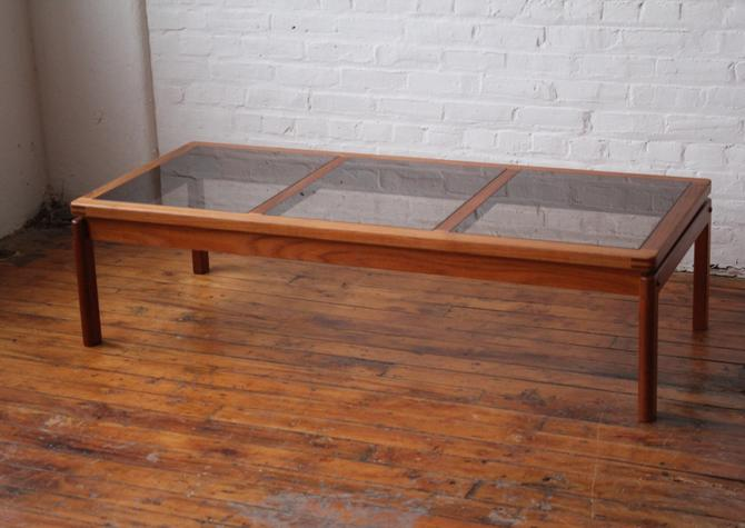 Restored Danish Solid Teak Coffee Table with Smoked Glass Panels by NijiFurnishing
