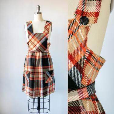 1960s Jumper Plaid Pinafore Dress S by dejavintageboutique