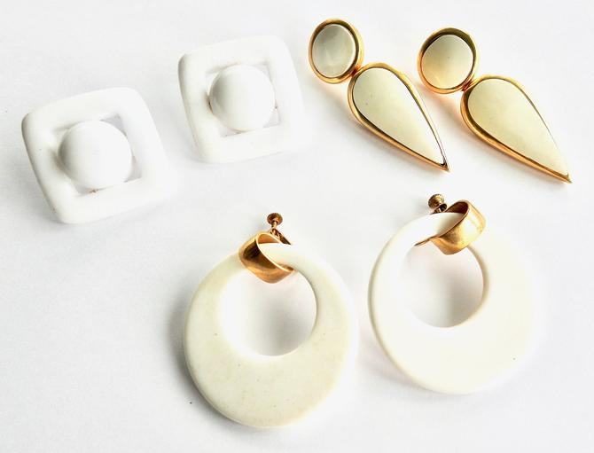 Three Pairs Large White Lucite Earrings by LegendaryBeast