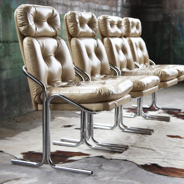 Mid Century Modern Post Modern Jerry Johnson Style 70s Set of 4 bent tubular Chrome Chairs COOL Baughman Modern style accent dining chair by CatchMyDriftVintage
