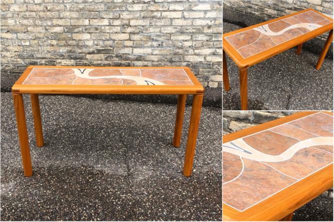 Teak + Tile Sofa Table
