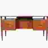 Johannes Sorth Bornholm Danish Teak Midcentury Modern Floating Top Executive Desk