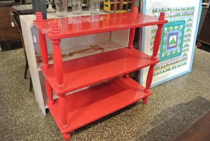 Red 3 tier shelf. $150