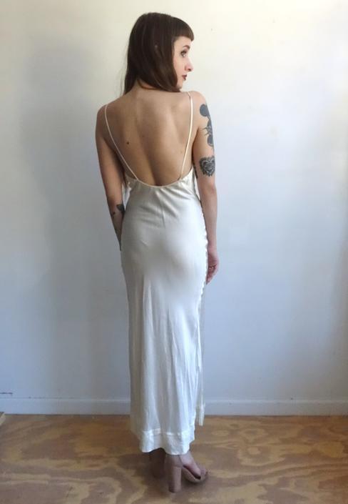 465259eac4f4d Vintage 40s Ivory Satin Rayon Backless Slip Dress/1940s White Slinky ...