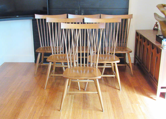 Six vintage highback dining chairs by Charles Webb by MidCenturyClever