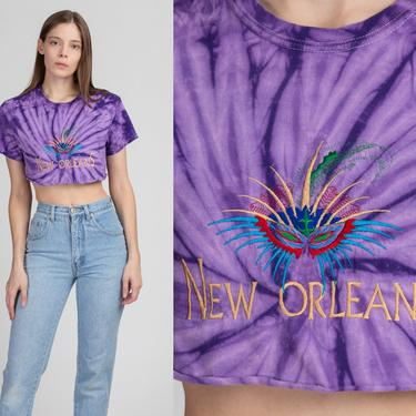 90s New Orleans Tie Dye Crop Top - Petite Small   Vintage Purple Mardi Gras Mask Cropped Tourist Tee by FlyingAppleVintage
