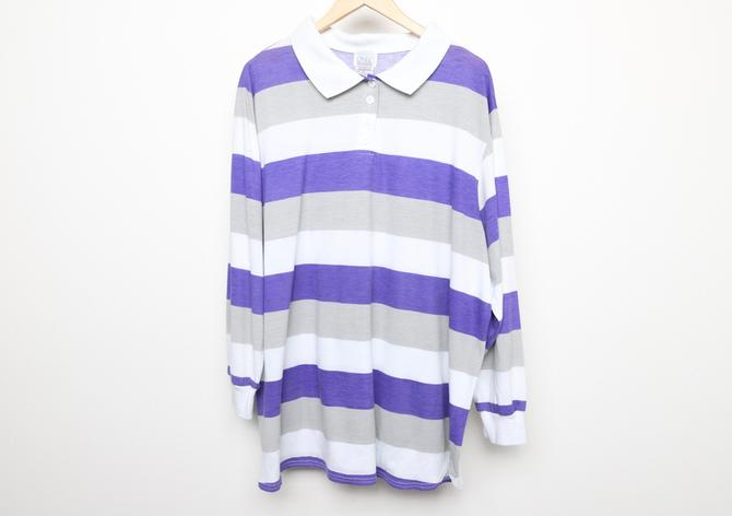 vintage 1980s PURPLE, grey & white long sleeve henley polo surf skater shirt -- size xl by CairoVintage