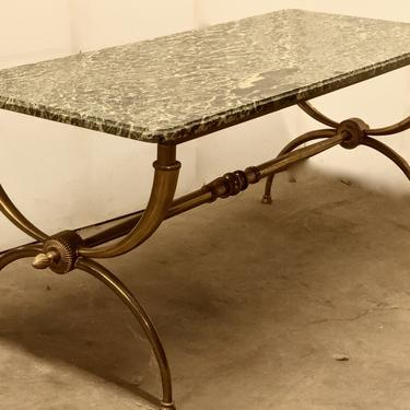 Raymond Subes coffee table in bronze with marble top (#1631)