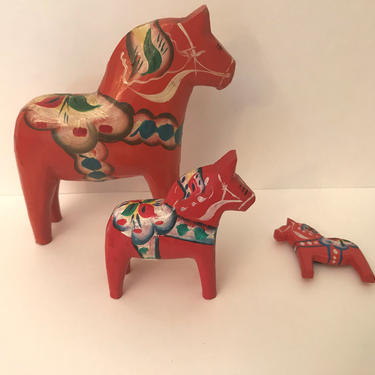 """Vintage (3) PC Original Nils Olsson Blue Dala Horse Figurines and Magnet Sweden with Label- 5"""" by JoAnntiques"""