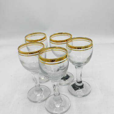 """Vintage (5) PC Circleware """"Parisian Shot Glasses and Stemmed cordials gold trim  Shot - Unused by JoAnntiques"""