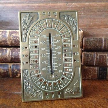 Antique French Brass Seasonal Desk Calender & Thermometer  ~ Rare Find by JansVintageStuff