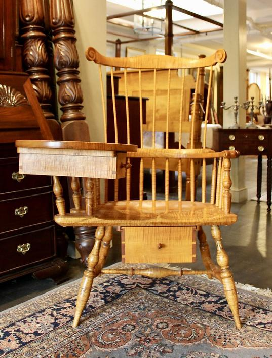 Custom Fan Back Writing Arm Chair in Tiger Maple, Made by Peter Wallace, Dated year 2000