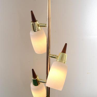 vintage Mid-Century brass and walnut 3 light floor lamp by fingerlickingvintage