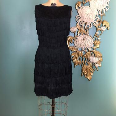 1960s fringe dress, vintage mini dress, flapper style, 60s does the 20s, 1920s style dress, black tassel dress, size small, holiday, nye, 28 by BlackLabelVintageWA