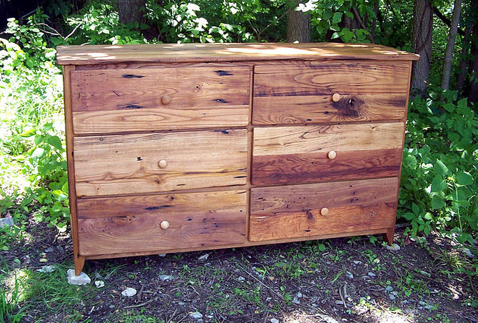 Reclaimed Wormy Chestnut Dresser from Antique Barn Wood by BarnWoodFurniture