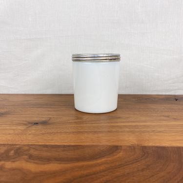 Vintage Large Milk Glass Jar with Screw Top Aluminum Lid by SonjloStudio