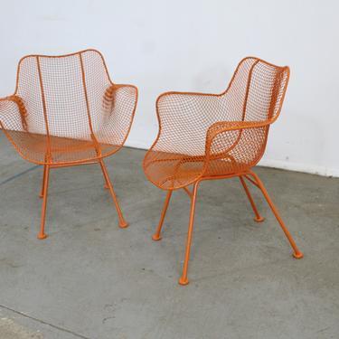 Pair of Mid Century Danish Modern Woodard Atomic Orange Sculptura Arm Chairs by AnnexMarketplace