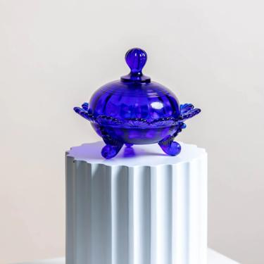 PRE-ORDER* Cobalt Blue Mosser Footed Covered Candy Dish by LivingColorfullyShop