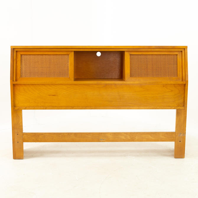 Russel Wright for Conant Ball Mid Century Blonde and Cane Full Queen Storage Headboard - mcm by ModernHill